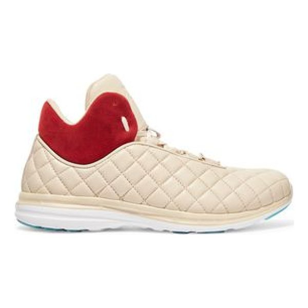 APL: ATHLETIC PROPULSION LABS apl® athletic propulsion labs lusso quilted textured-leather high - Rubber sole measures approximately 20mm/ 1 inch. Beige...