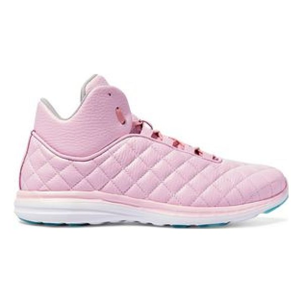 APL: ATHLETIC PROPULSION LABS apl® athletic propulsion labs lusso quilted textured-leather high - Rubber sole measures approximately 20mm/ 1 inch. Pink...