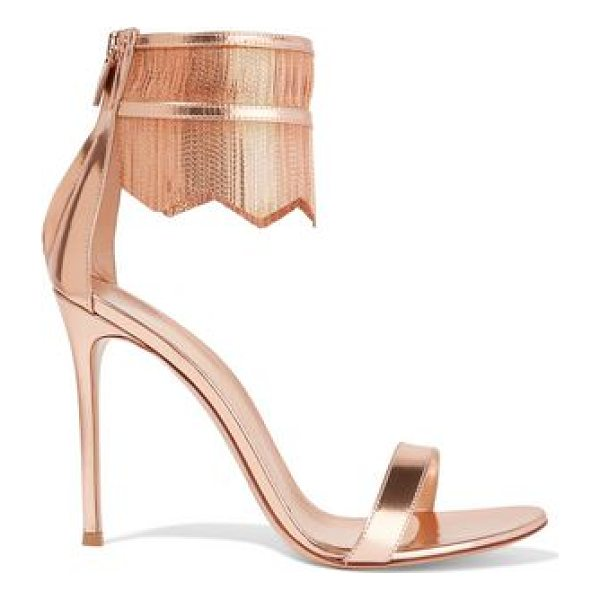 GIANVITO ROSSI fringed chain-embellished metallic patent - Gianvito Rossi copper sandals. Heel measures approximately...
