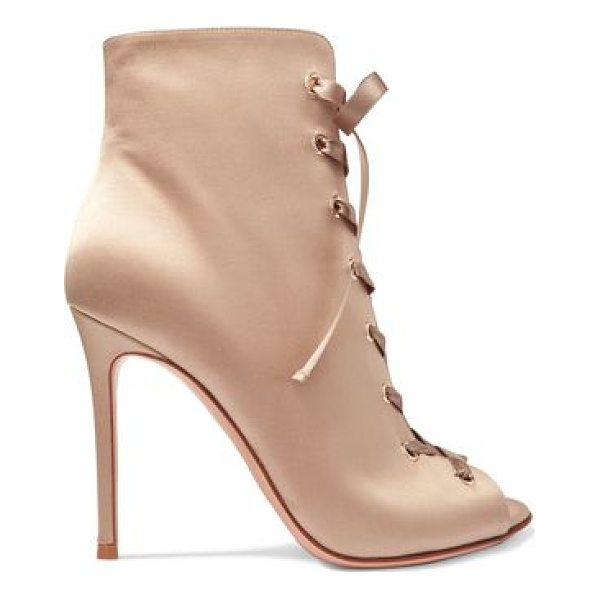 GIANVITO ROSSI lace - Heel measures approximately 100mm/ 4 inches. Taupe satin....