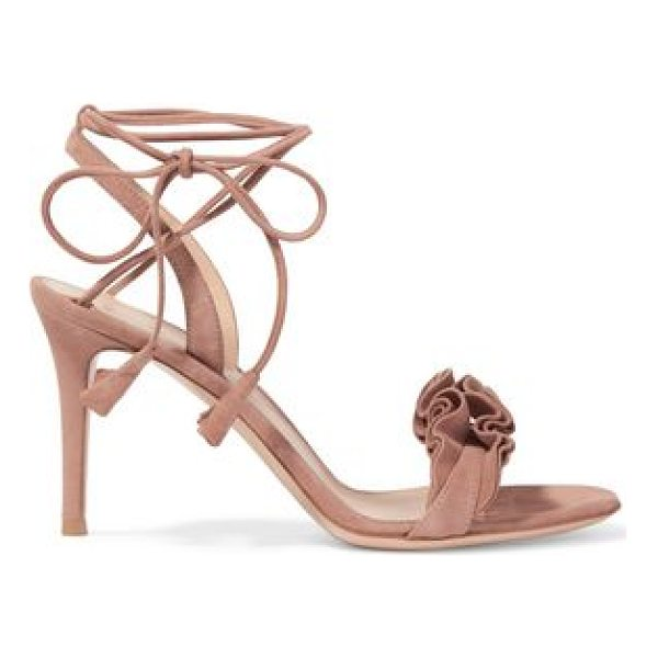 GIANVITO ROSSI ruffled suede sandals - Heel measures approximately 85mm/ 3.5 inches. Taupe suede....