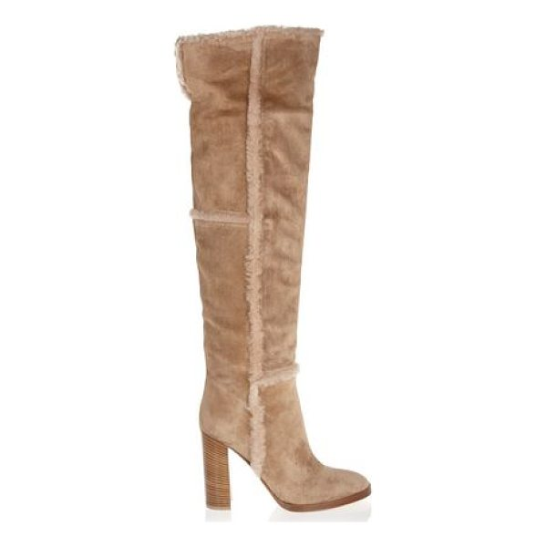 GIANVITO ROSSI shearling-trimmed suede over-the - Heel measures approximately 100mm/ 4 inches. Sand suede,...