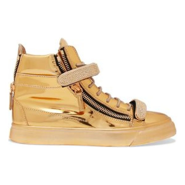 GIUSEPPE ZANOTTI metallic embellished leather high - Giuseppe Zanotti gold sneakers. Sole measures approximately...