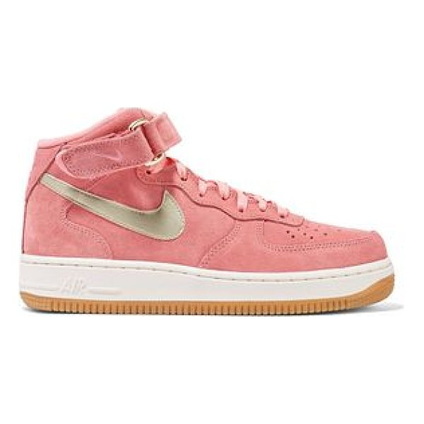NIKE air force 1 leather-trimmed suede high - Rubber sole measures approximately 30mm/ 1 inch. Pink...