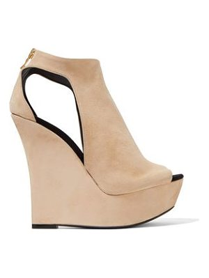 BALMAIN Cutout Suede Wedge Sandals