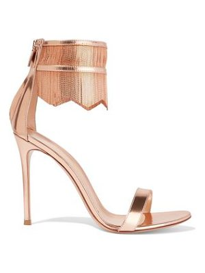 GIANVITO ROSSI Fringed Chain-Embellished Metallic Patent
