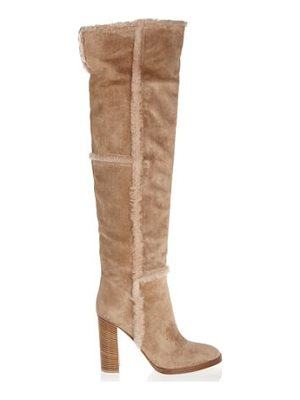 GIANVITO ROSSI Shearling-Trimmed Suede Over-The