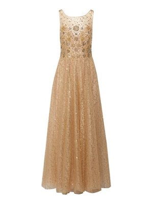 NOTTE BY MARCHESA Metallic Pleated Embellished Tulle Gown