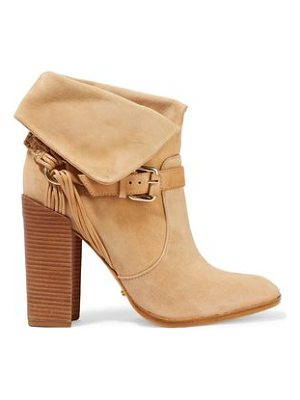 SCHUTZ Arlete Buckled Braided Suede Ankle Boots