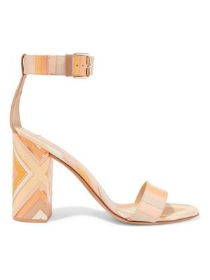 VALENTINO Printed Leather And Perspex Sandals