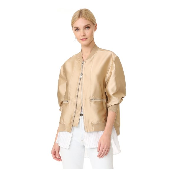 3.1 PHILLIP LIM bomber jacket with shirting - This 3.1 Phillip Lim bomber jacket has a panel of striped...