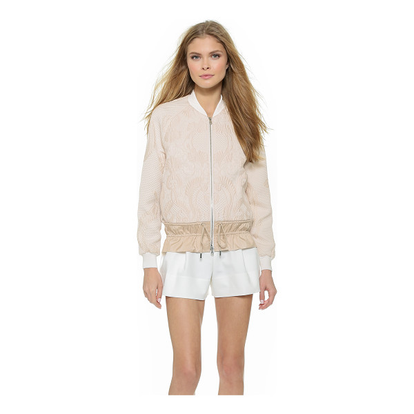 3.1 PHILLIP LIM Cinched cloque bomber - Cinched elastic gathers the nylon drawstring hem of this...