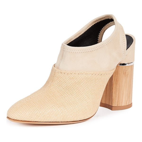 3.1 PHILLIP LIM drum slingback mules - Fabric: Raffia Leather: Sheepskin Sling-back strap Chunky...
