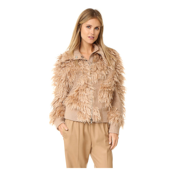 3.1 PHILLIP LIM 3.1 Phillip Lim Zipped Bomber Cardigan - Fringed shag trim lends retro style to this cozy, mixed...