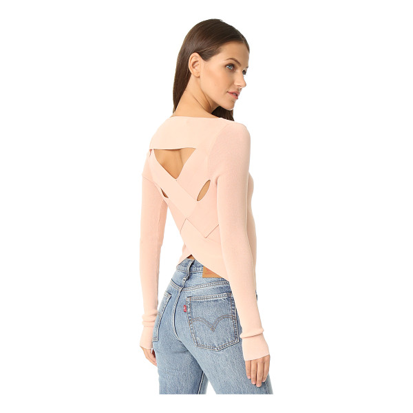 360SWEATER veda open back sweater - Large, interwoven panels add eye-catching detail to the...