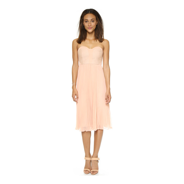 4.COLLECTIVE Strapless pleated dress - Contrast jacquard panels accent the bodice of this charming...