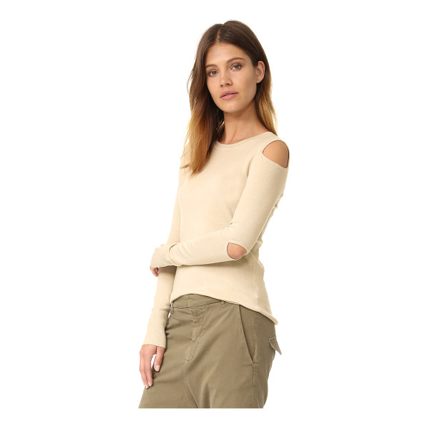 525 AMERICA cold shoulder cutout crew neck sweater - Cutouts at the shoulders and elbows reveal a peek of skin...