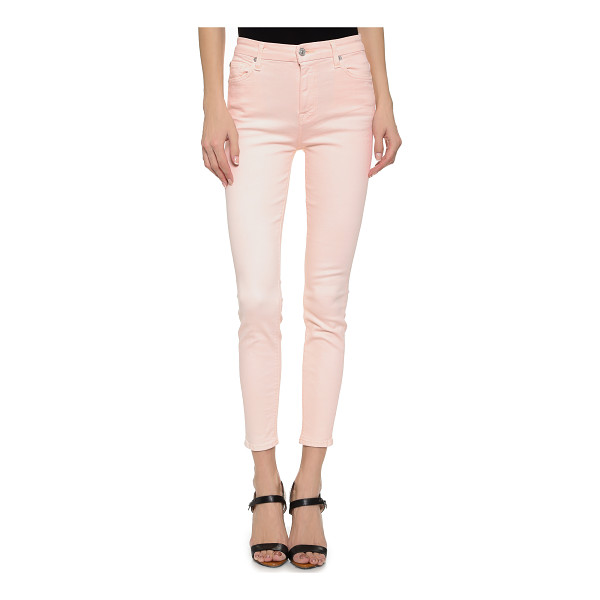 7 FOR ALL MANKIND High waisted ankle skinny jeans - Pastel denim puts a charming finish on these 7 For All...