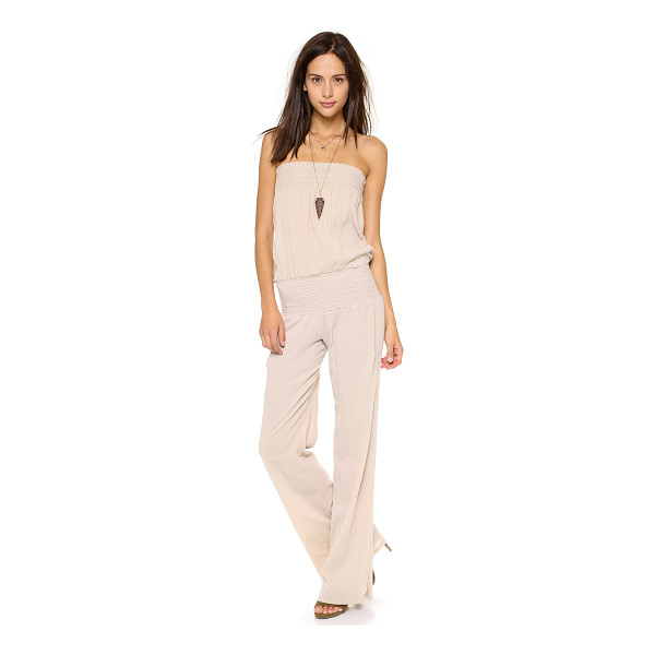 9SEED zuma jumpsuit - Flattering smocked bands support the shoulder-bearing top...