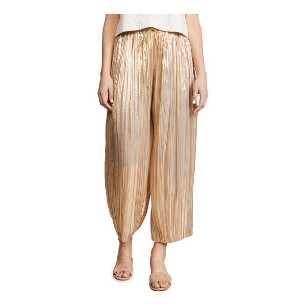 ADAM LIPPES pleated lame ankle pants with drawstring waist - Fabric: Lamé Wide-leg cut Ankle length Drawstring at waist...