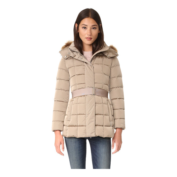 ADD DOWN down jacket with fur - A removable, tonal belt defines the formfitting silhouette...