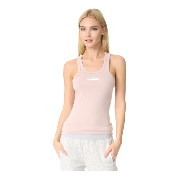 ADIDAS BY STELLA MCCARTNEY racer tank - A logo print sits below the scoop neckline of this soft...