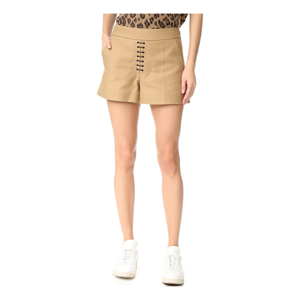 ALEXANDER WANG safari shorts with lacing - Waxed laces accent the front of these crisp, high-waisted