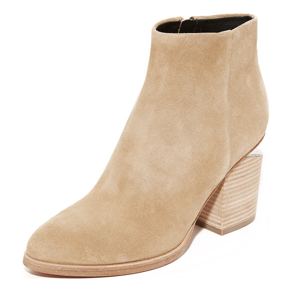 ALEXANDER WANG gabi suede booties - Rhodium-tone hardware puts a sleek finish on these suede