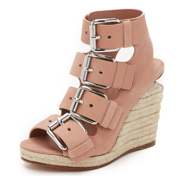 ALEXANDER WANG Jo buckle wedge sandals - Polished buckles complement the metallic plate at the...