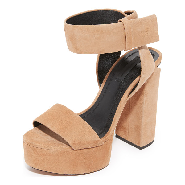 ALEXANDER WANG keke platform sandals - A metal plate accents the sliced heel of these suede