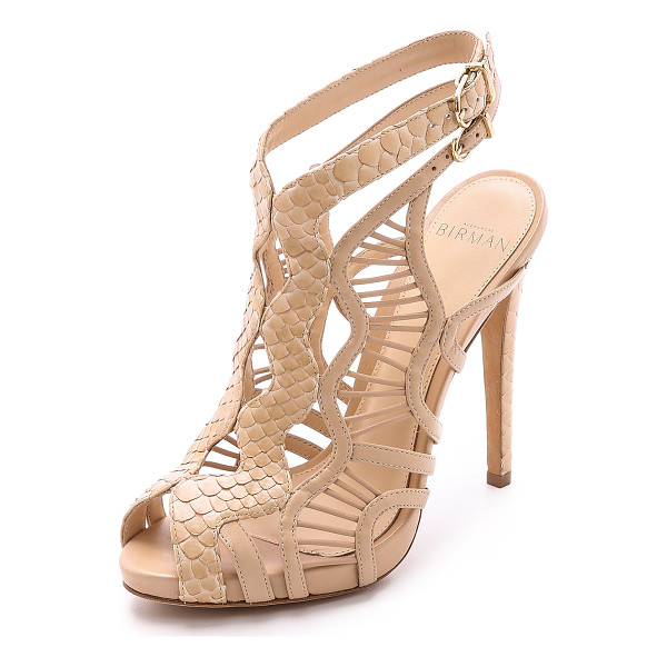 ALEXANDRE BIRMAN Snakeskin & leather sandals - A rich combination of tactile python and smooth, sculpted...