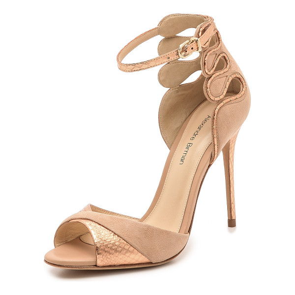 ALEXANDRE BIRMAN Suede & snakeskin sandals - Shimmering metallic snakeskin accentuates the luxe feel of