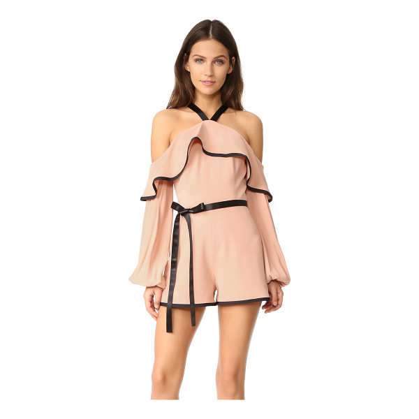 ALEXIS hanson romper - An open-shoulder neckline and draped flounce bring flirty...