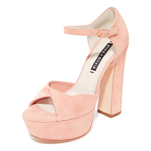 ALICE + OLIVIA layla platform sandals - Velvety suede alice + olivia sandals styled with a twisted