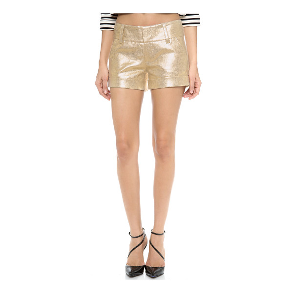 ALICE + OLIVIA Cady cuff metallic short - These metallic linen shorts feature slant hip pockets and...