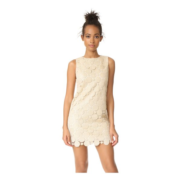 ALICE + OLIVIA clyde a-line shift dress - Shimmering metallic threads detail the guipure lace shell...