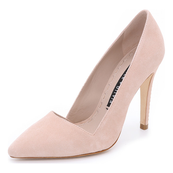 ALICE + OLIVIA Dina suede pumps - An angular top line and pointed toe lend a polished look to...