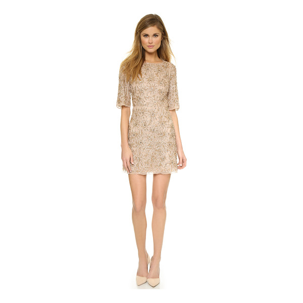 ALICE + OLIVIA Drina embellished dress - A lavish floral print rendered in tonal beading lends a...