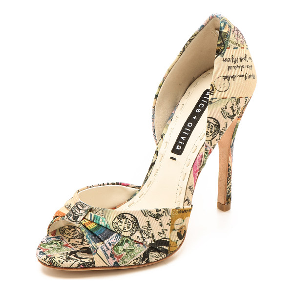 ALICE + OLIVIA Gigi travel dorsay pumps - A cheery travel theme lends a playful feel to faille alice...