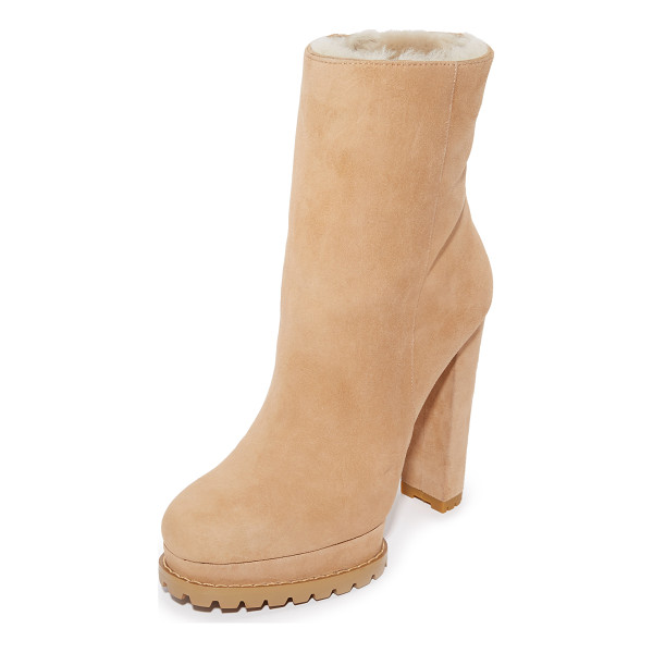 ALICE + OLIVIA Holden shearlng booties - Cozy shearling lines these velvety suede alice + olivia...