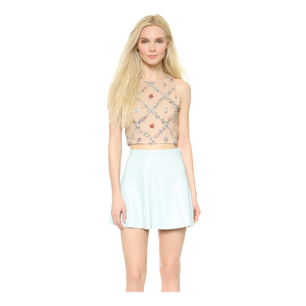 ALICE + OLIVIA Kesten crop fitted tank - Intricate vines composed of colorful rhinestones create an...