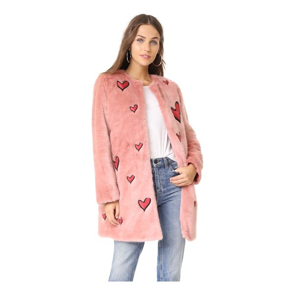 ALICE + OLIVIA madge embroidered faux fur coat - This quirky, faux-fur alice + olivia jacket is detailed...