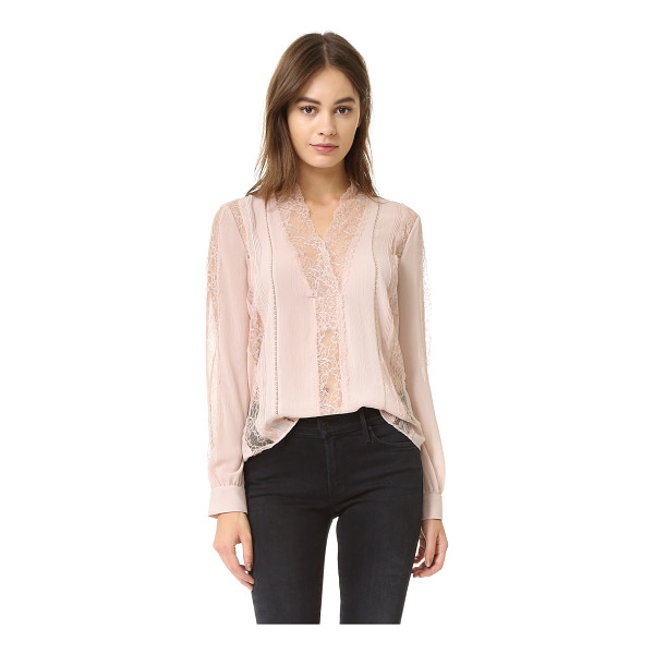 ALICE + OLIVIA Robbie v neck sheer lace blouse - A feminine alice + olivia top in a mix of lace and chiffon....