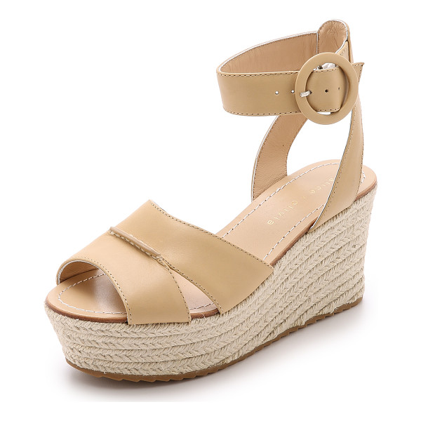 ALICE + OLIVIA Roberta espadrille wedges - A raised seam joins the wide straps on these alice + olivia