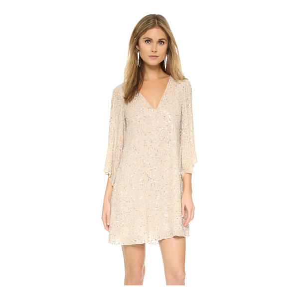 ALICE + OLIVIA Shary embellished dress - Serpentine ribbons of clear beads and metallic sequins form...