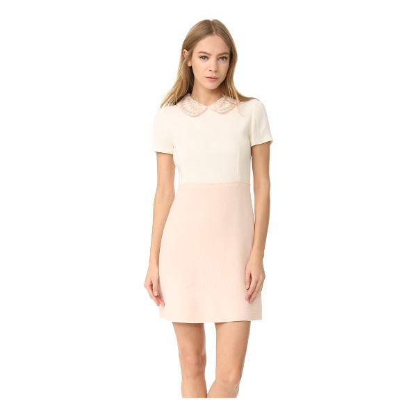 AMELIA TORO wool crepe dress - An embroidered peter pan collar brings feminine charm to...