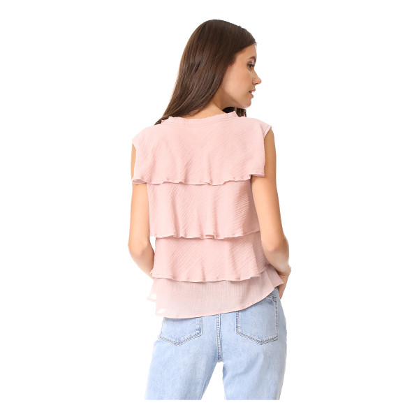 AMO ruffle tank - A boxy AMO tank in double-layered cotton gauze. Distressed...
