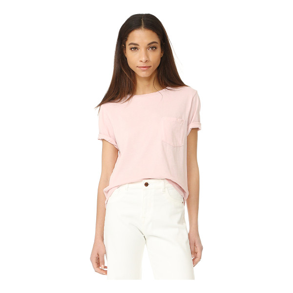 AMO tomboy pocket tee - Distressed edges and holes at the neckline add a well-loved...