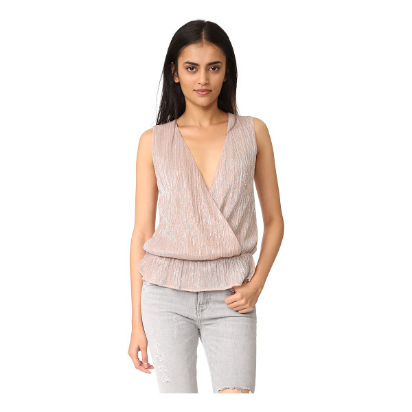 ANINE BING draped top - Two-tone metallic threads lend a shimmering finish to this...