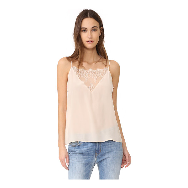 ANINE BING lace camisole - A feather-light silk ANINE BING cami. A lace inset accents...